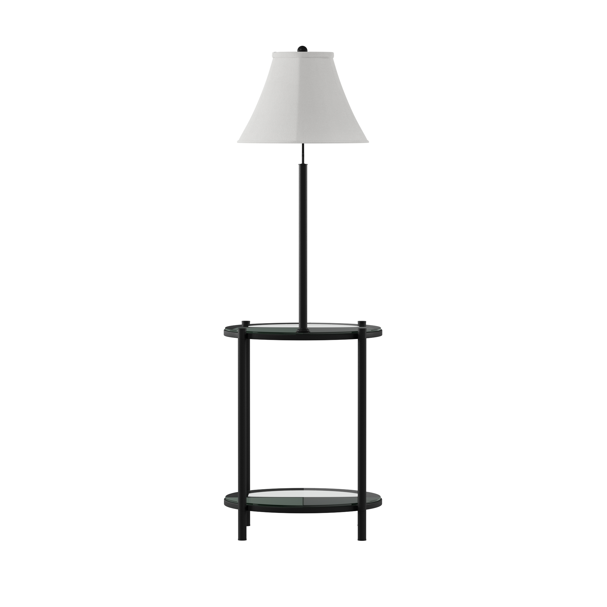 """Mainstays 54/"""" Glass End Table w//Built In 3-Way Floor Lamp Black w//Linen Shade"""